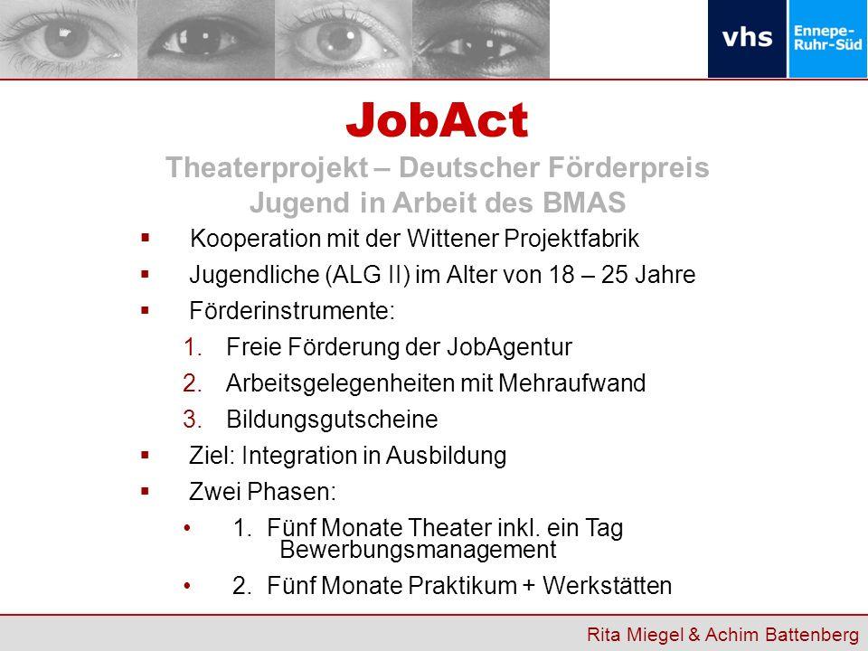 JobAct Theaterprojekt – Deutscher Förderpreis Jugend in Arbeit des BMAS