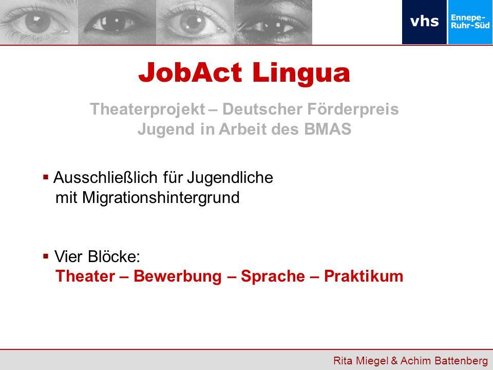 Theaterprojekt – Deutscher Förderpreis Jugend in Arbeit des BMAS