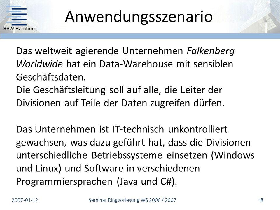 Seminar Ringvorlesung WS 2006 / 2007