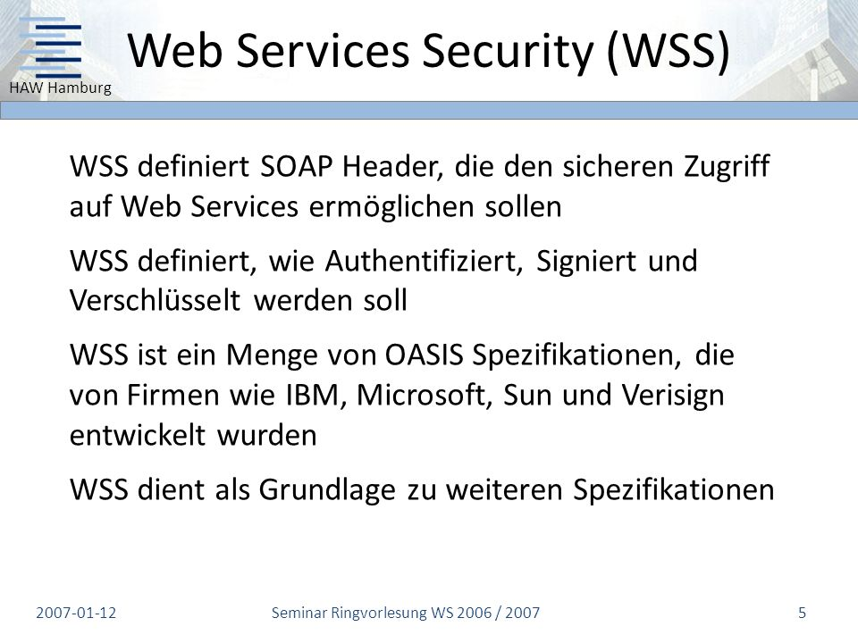 Web Services Security (WSS)