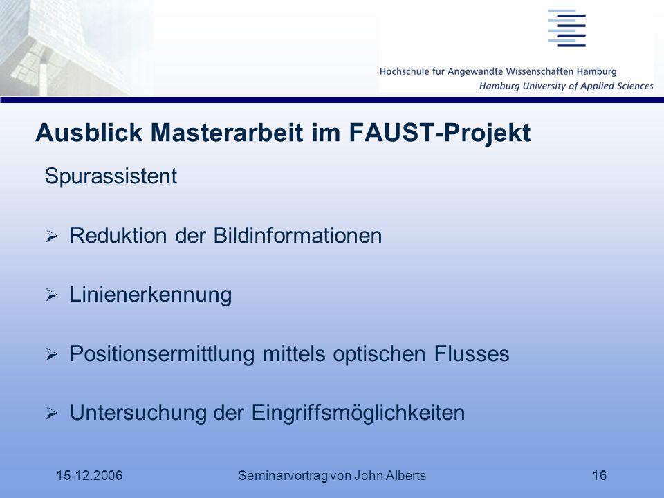 Ausblick Masterarbeit im FAUST-Projekt