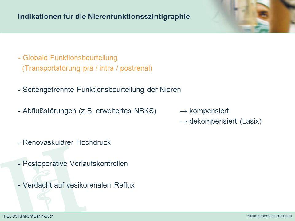 Indikationen für die Nierenfunktionsszintigraphie