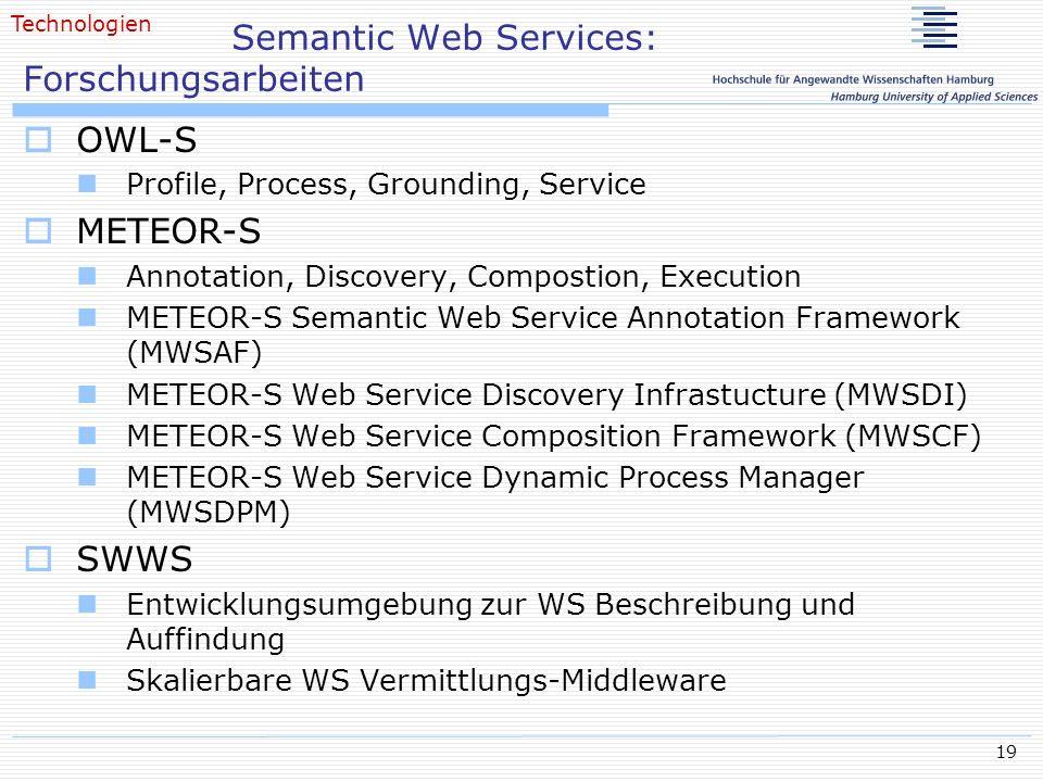 Semantic Web Services: Forschungsarbeiten