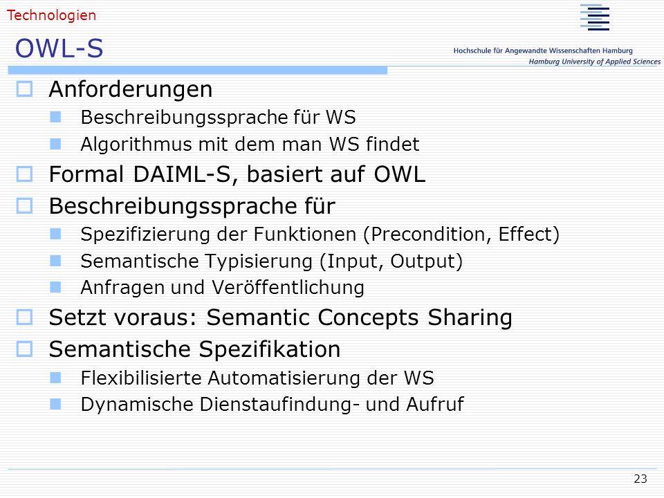OWL-S Anforderungen Formal DAIML-S, basiert auf OWL