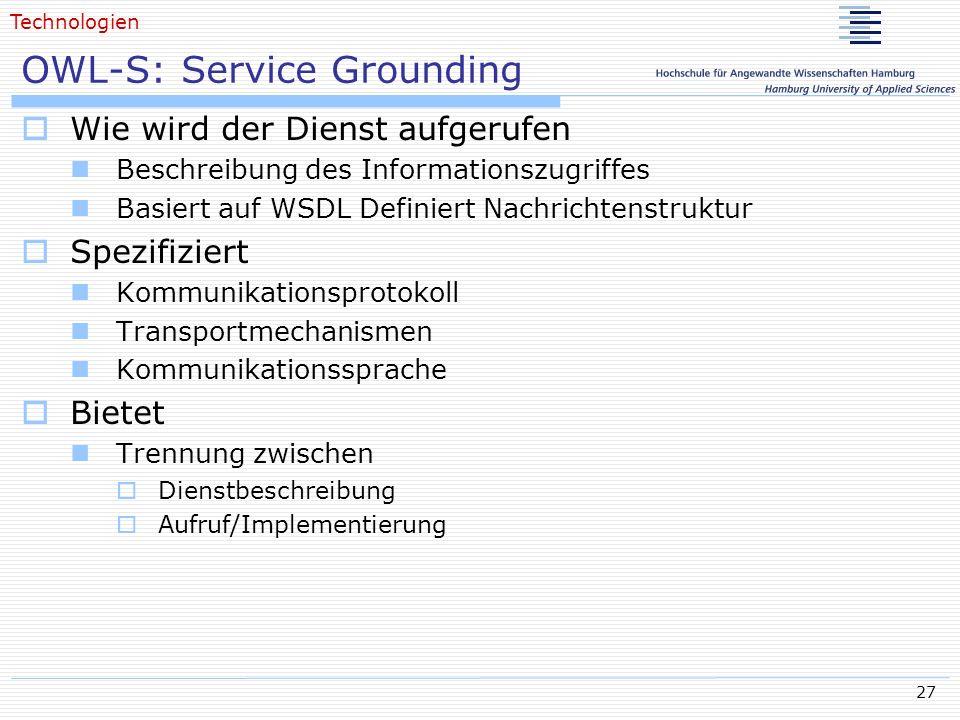 OWL-S: Service Grounding