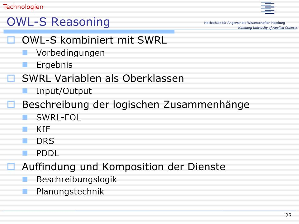 OWL-S Reasoning OWL-S kombiniert mit SWRL