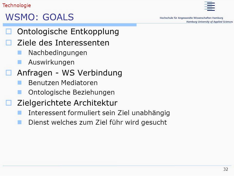 WSMO: GOALS Ontologische Entkopplung Ziele des Interessenten