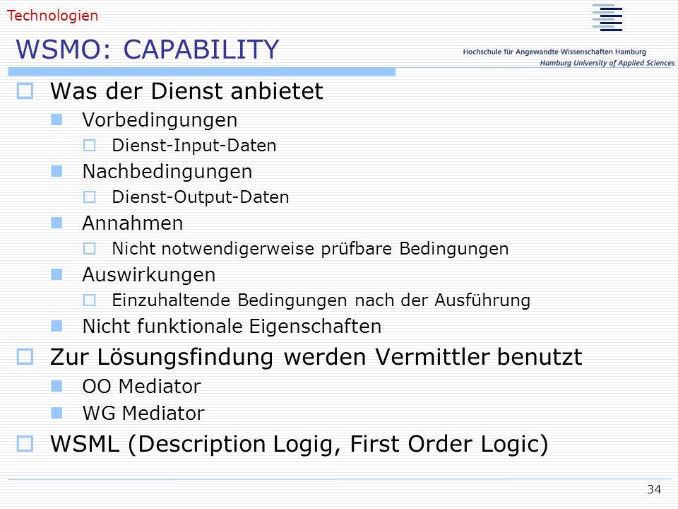 WSMO: CAPABILITY Was der Dienst anbietet