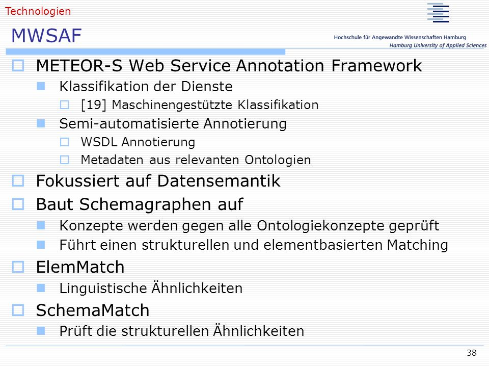 MWSAF METEOR-S Web Service Annotation Framework