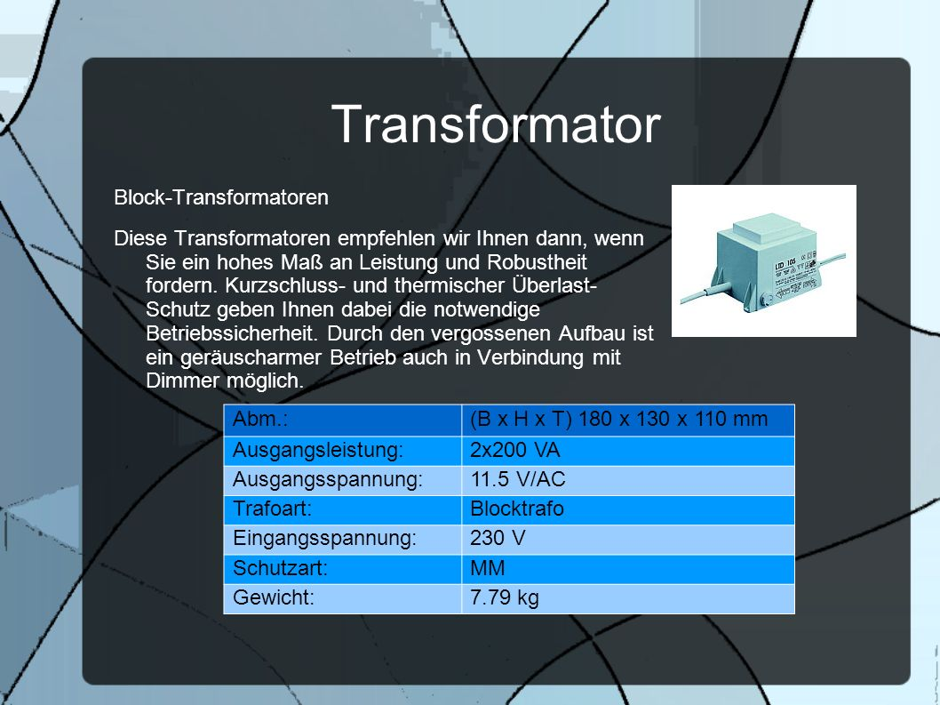 Transformator Block-Transformatoren