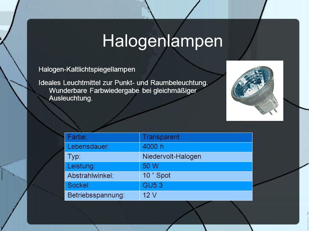 Halogenlampen Halogen-Kaltlichtspiegellampen