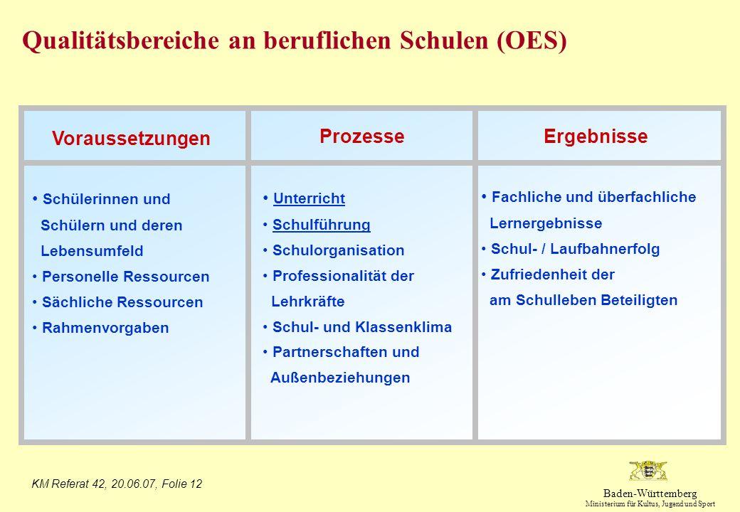 Qualitätsbereiche an beruflichen Schulen (OES)