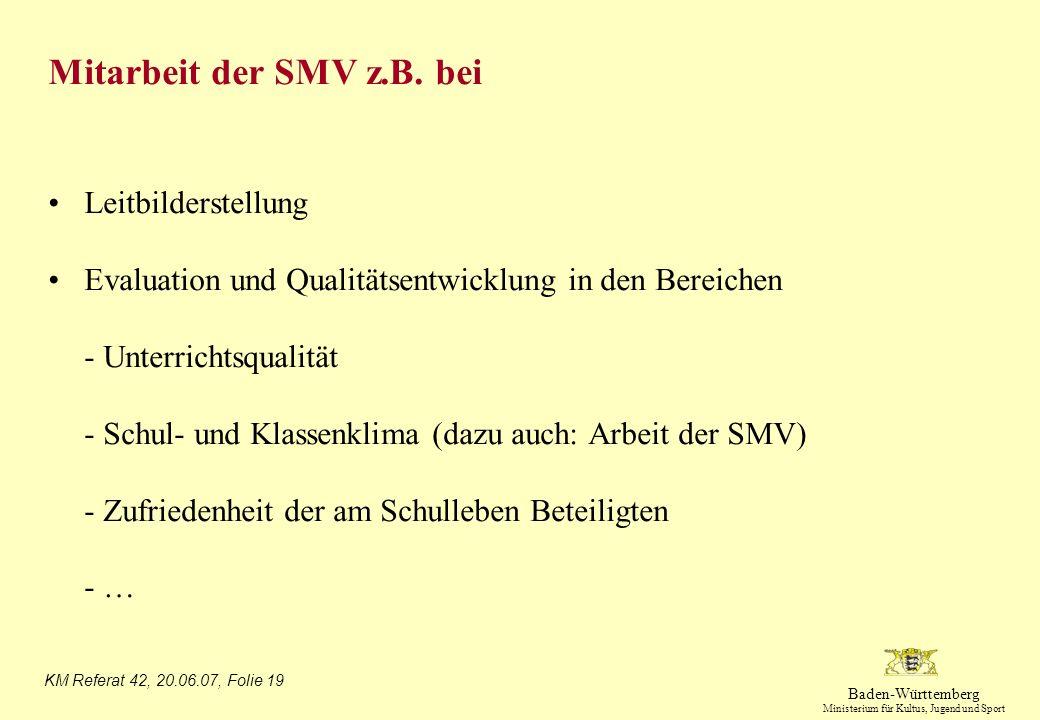 Mitarbeit der SMV z.B. bei