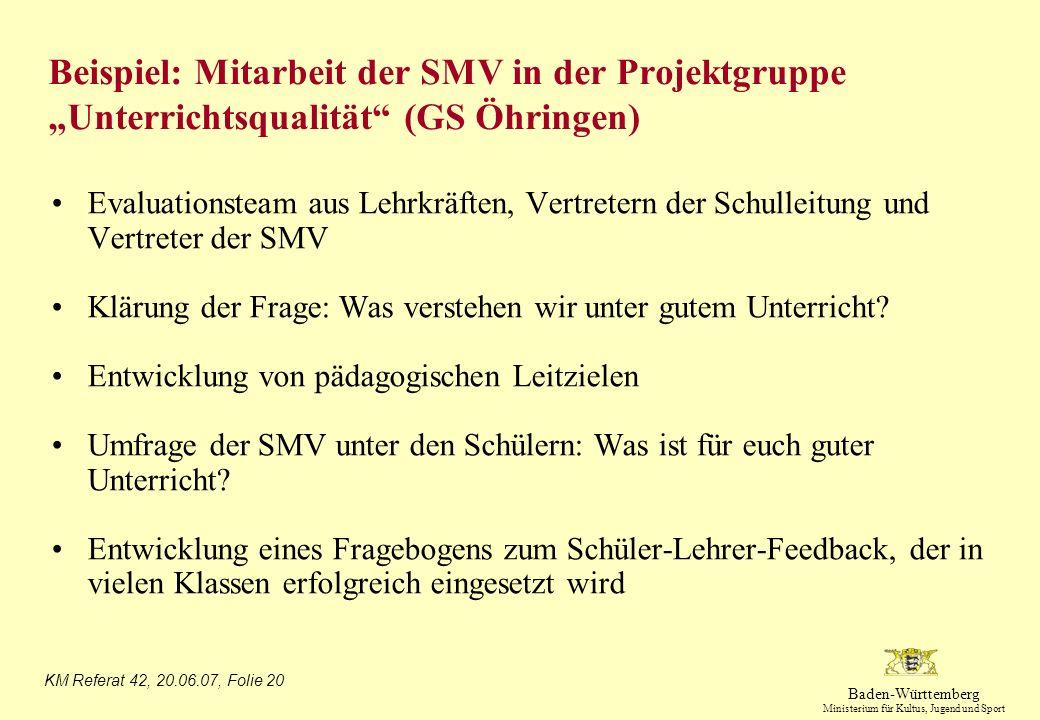 """Beispiel: Mitarbeit der SMV in der Projektgruppe """"Unterrichtsqualität (GS Öhringen)"""