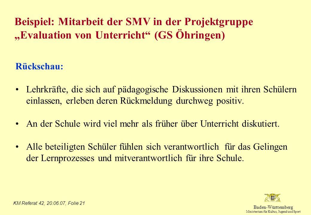 """Beispiel: Mitarbeit der SMV in der Projektgruppe """"Evaluation von Unterricht (GS Öhringen)"""