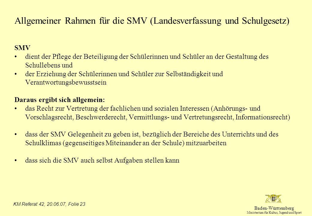 Allgemeiner Rahmen für die SMV (Landesverfassung und Schulgesetz)