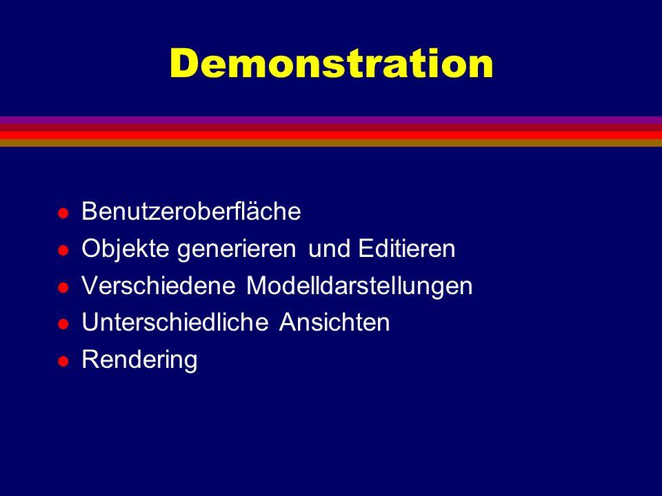 Demonstration Benutzeroberfläche Objekte generieren und Editieren