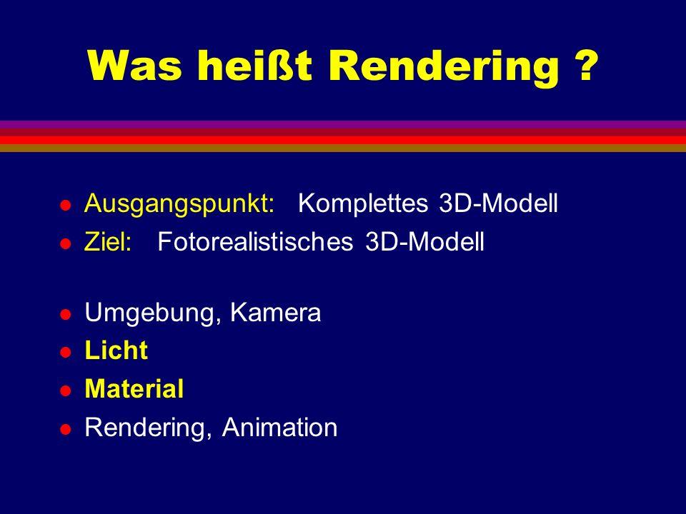 Was heißt Rendering Ausgangspunkt: Komplettes 3D-Modell
