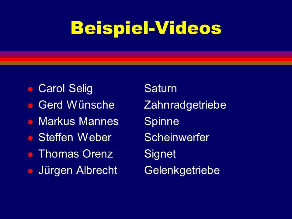 Beispiel-Videos Carol Selig Saturn Gerd Wünsche Zahnradgetriebe