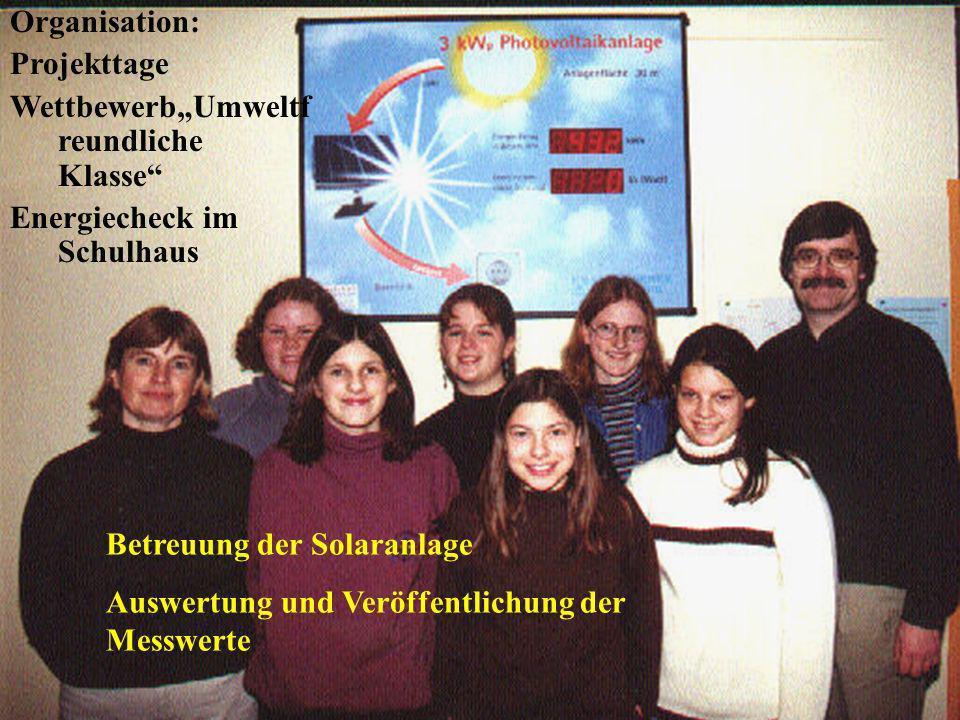 """Organisation: Projekttage. Wettbewerb""""Umweltfreundliche Klasse Energiecheck im Schulhaus. Betreuung der Solaranlage."""
