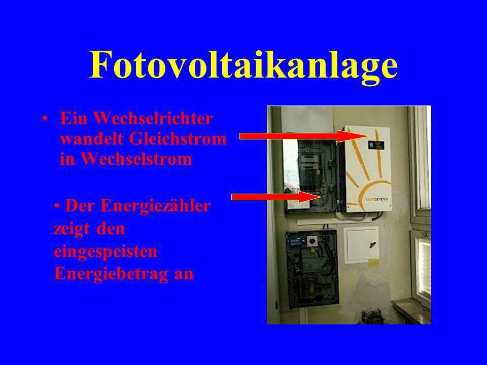 Fotovoltaikanlage Ein Wechselrichter wandelt Gleichstrom in Wechselstrom.
