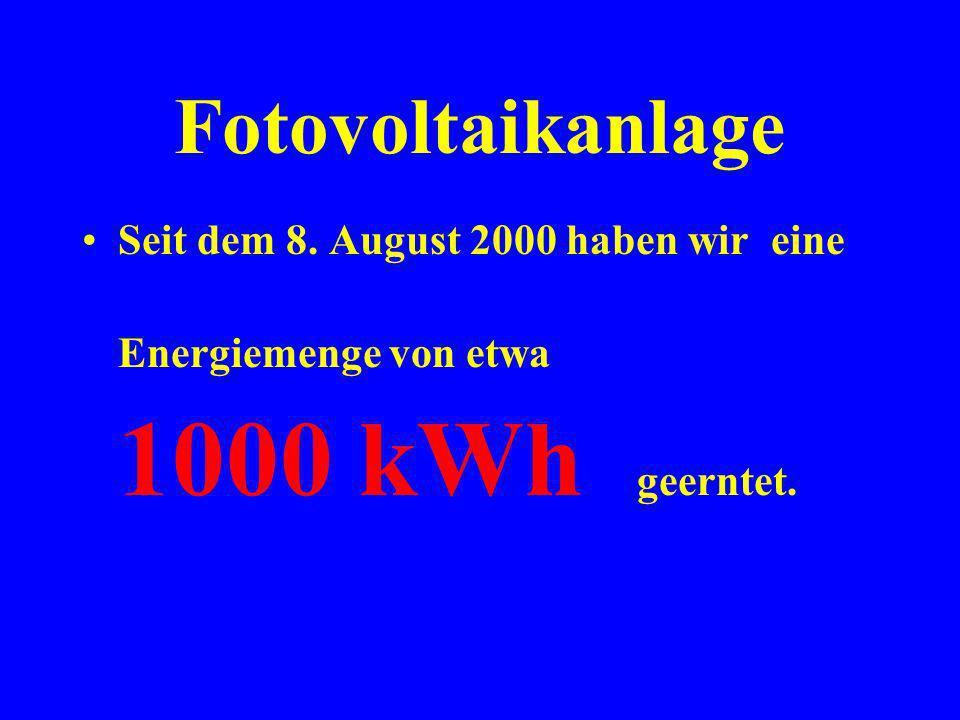 Fotovoltaikanlage Seit dem 8.