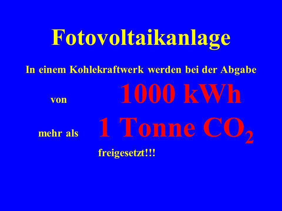 Fotovoltaikanlage In einem Kohlekraftwerk werden bei der Abgabe von 1000 kWh mehr als 1 Tonne CO2.