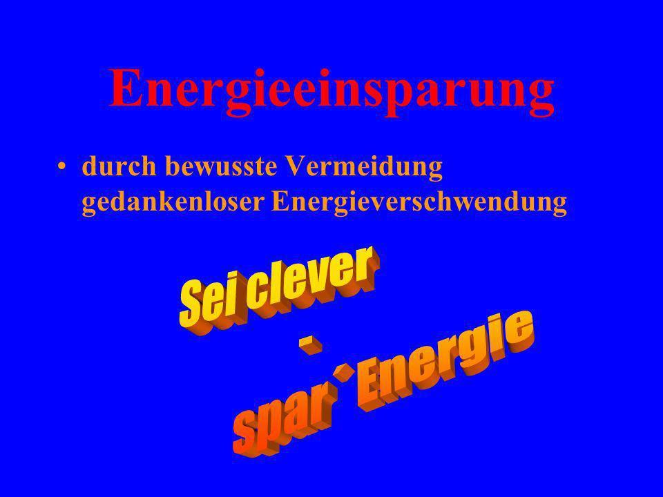 Energieeinsparung Sei clever - spar´ Energie