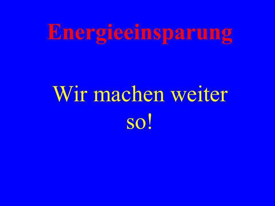 Energieeinsparung Wir machen weiter so!