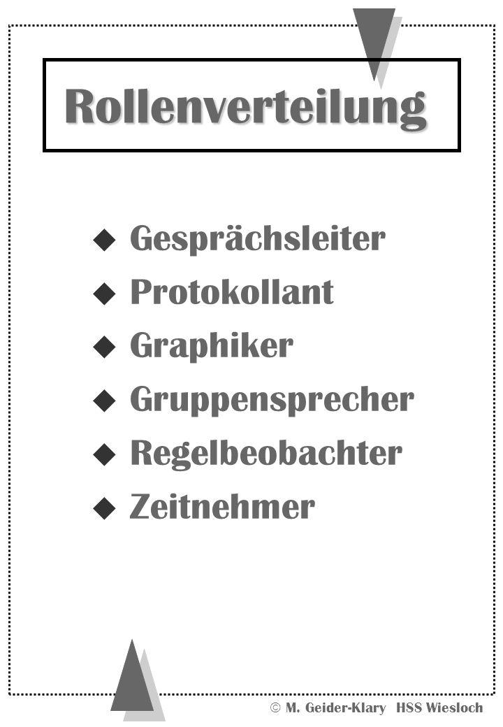 Rollenverteilung Gesprächsleiter Protokollant Graphiker