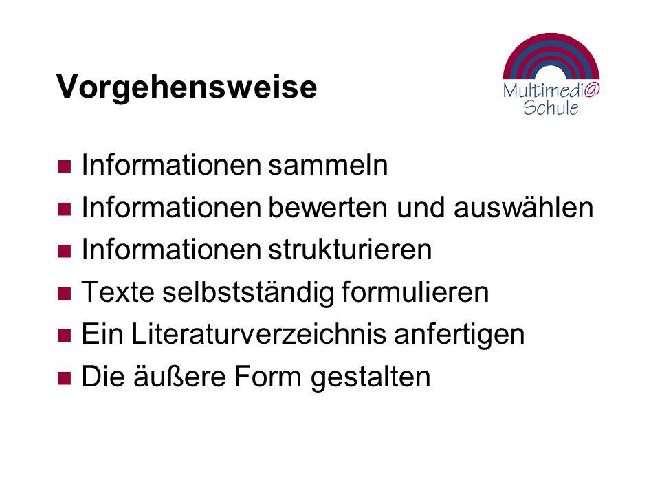 Vorgehensweise Informationen sammeln
