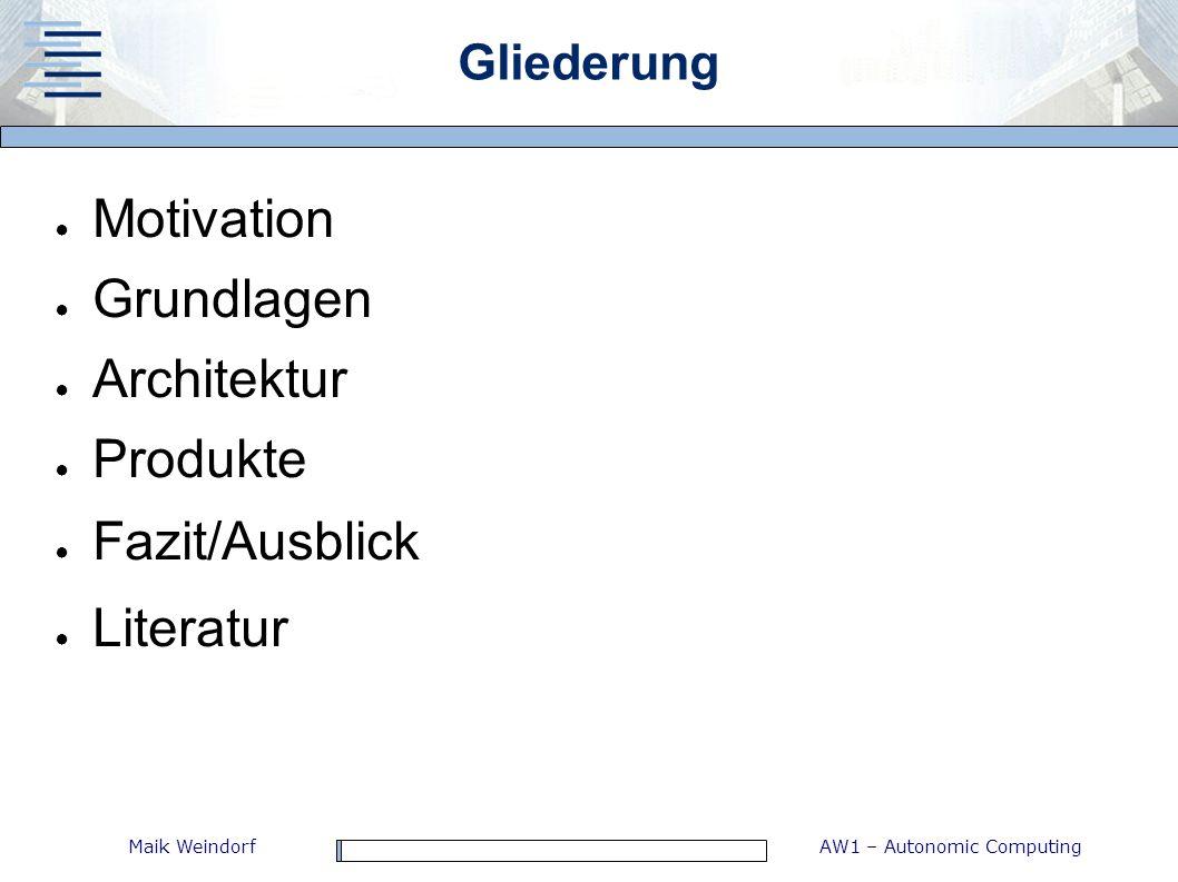 Motivation Grundlagen Architektur Produkte Fazit/Ausblick Literatur