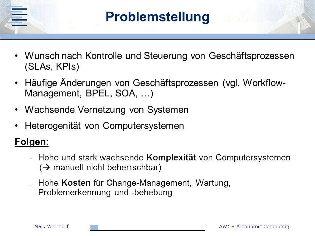 Problemstellung Wunsch nach Kontrolle und Steuerung von Geschäftsprozessen (SLAs, KPIs)