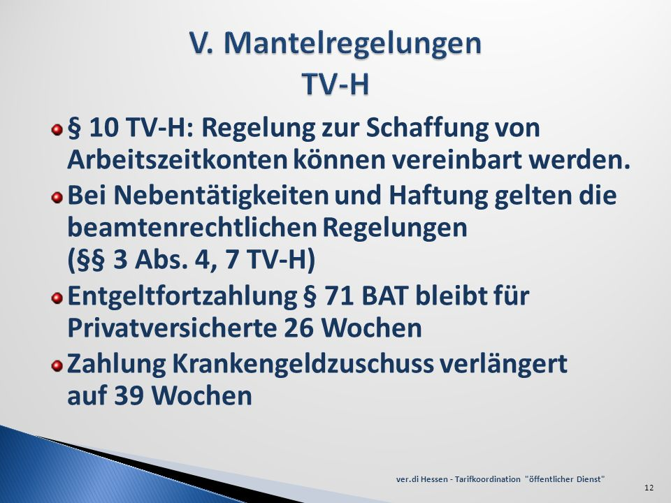 V. Mantelregelungen TV-H