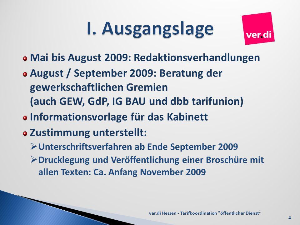 I. Ausgangslage Mai bis August 2009: Redaktionsverhandlungen