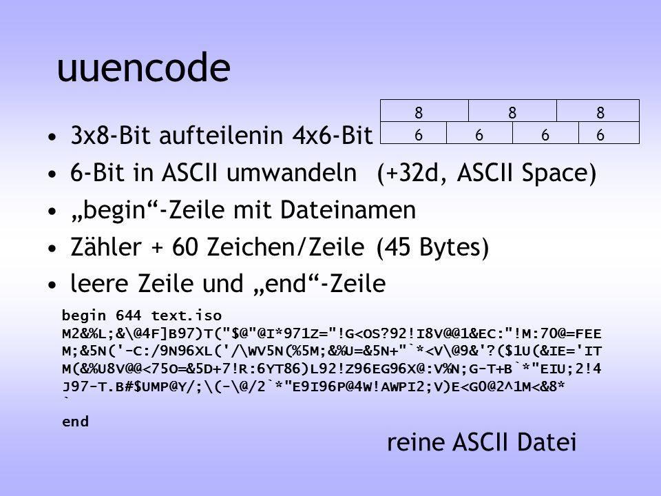 uuencode 3x8-Bit aufteilenin 4x6-Bit