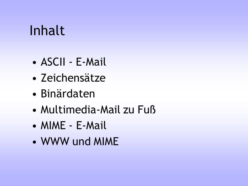 Inhalt ASCII - E-Mail Zeichensätze Binärdaten Multimedia-Mail zu Fuß