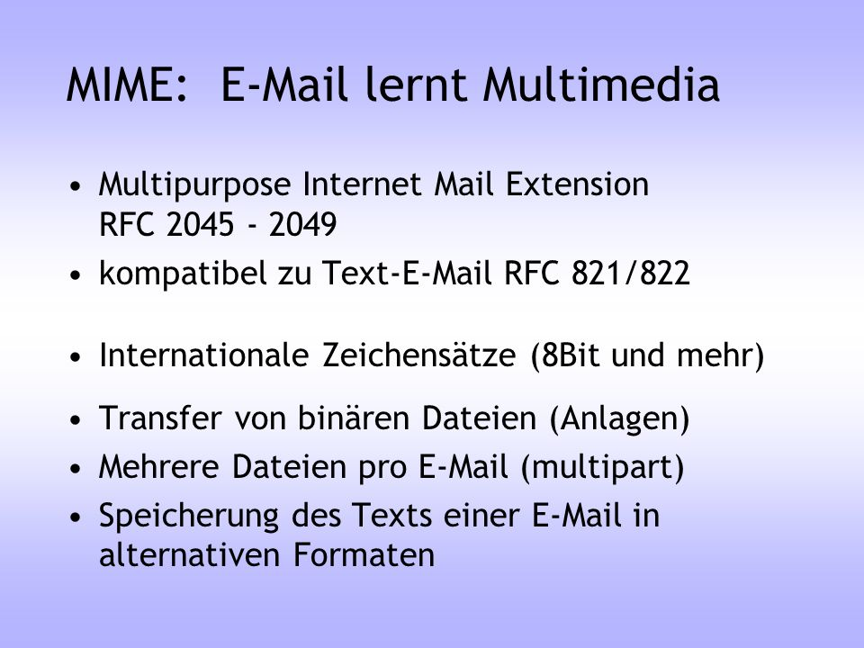 MIME: E-Mail lernt Multimedia
