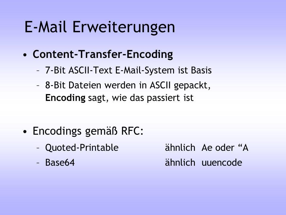 E-Mail Erweiterungen Content-Transfer-Encoding Encodings gemäß RFC: