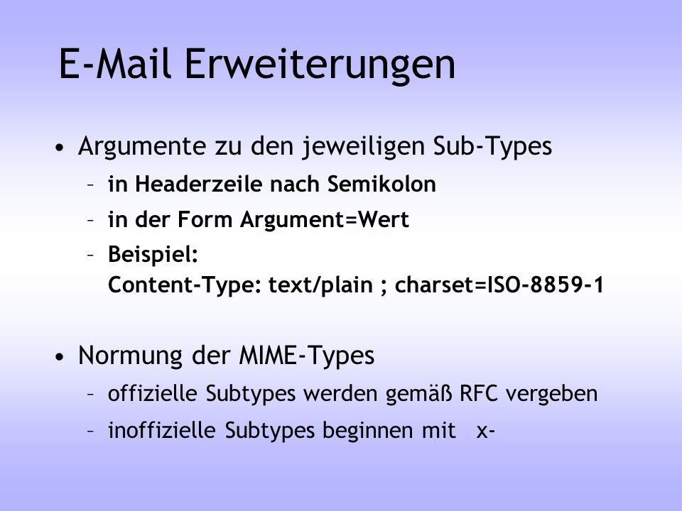 E-Mail Erweiterungen Argumente zu den jeweiligen Sub-Types