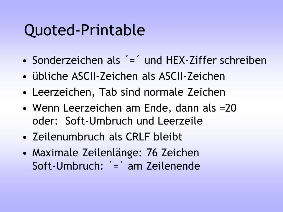Quoted-Printable Sonderzeichen als ´=´ und HEX-Ziffer schreiben