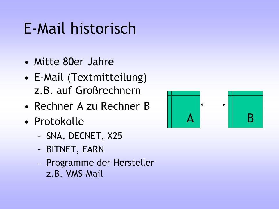 E-Mail historisch A B Mitte 80er Jahre