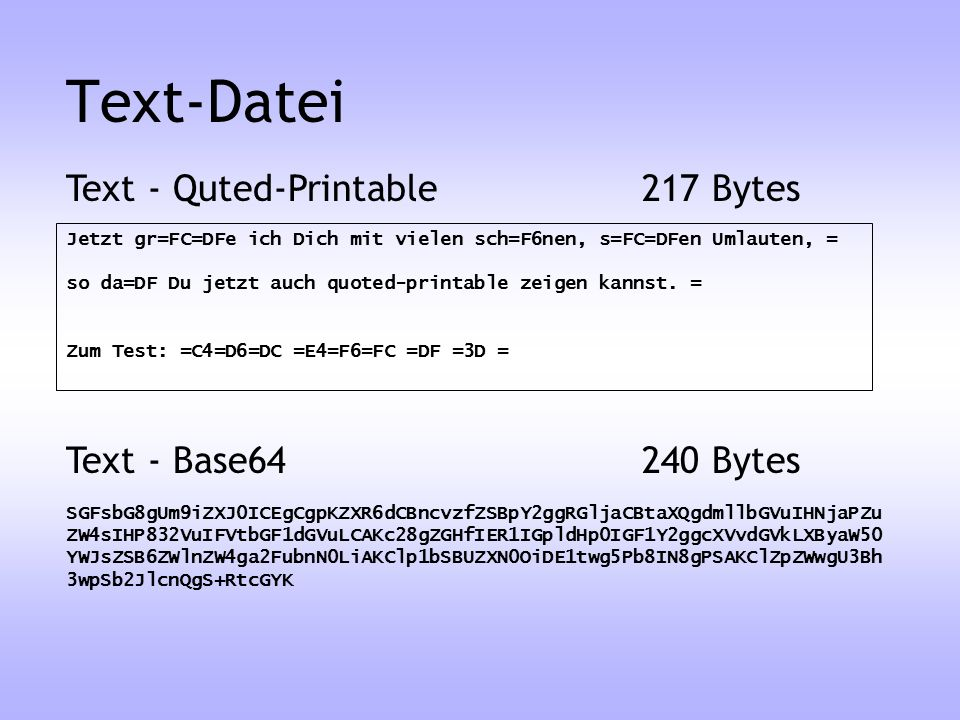 Text-Datei Text - Quted-Printable 217 Bytes Text - Base Bytes