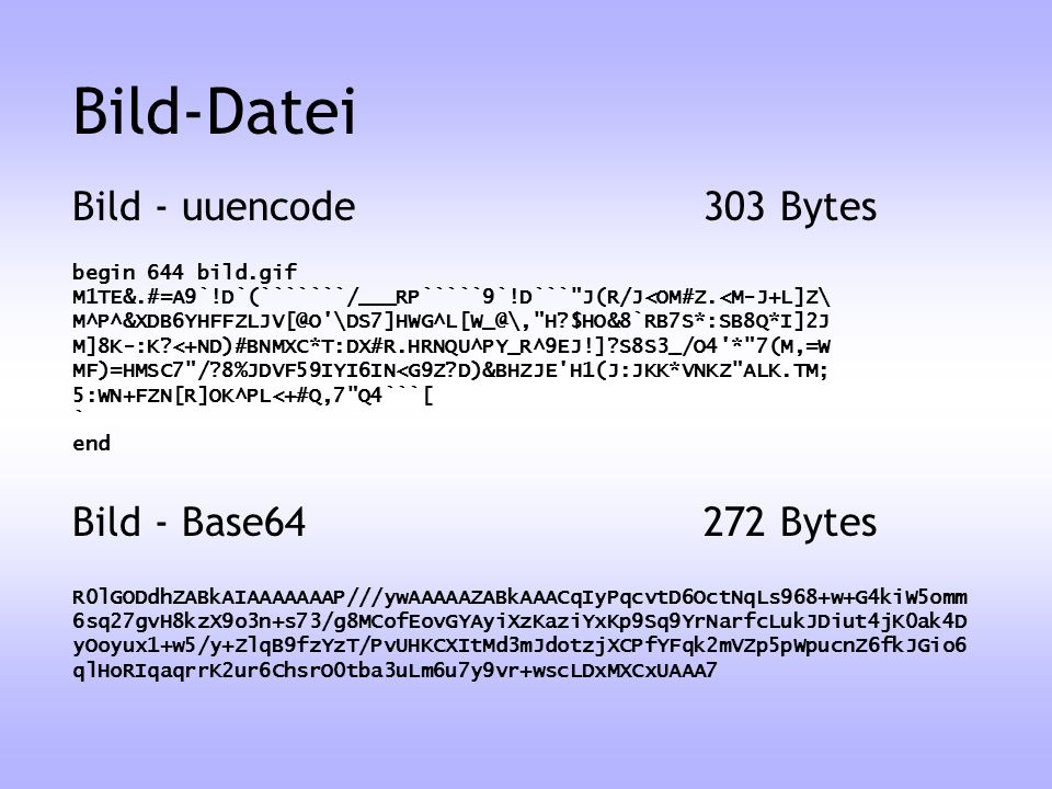 Bild-Datei Bild - uuencode 303 Bytes Bild - Base64 272 Bytes