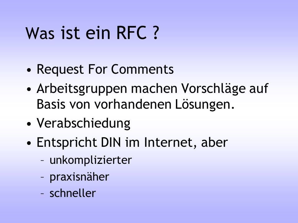 Was ist ein RFC Request For Comments