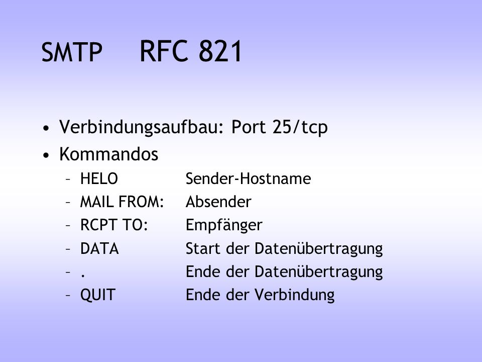 SMTP RFC 821 Verbindungsaufbau: Port 25/tcp Kommandos
