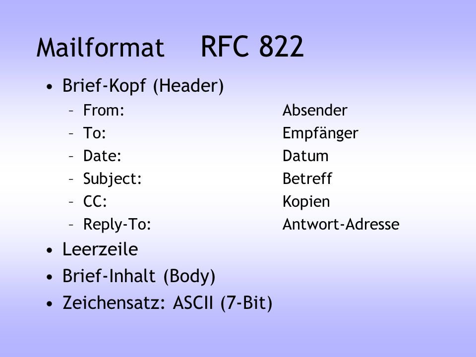 Mailformat RFC 822 Brief-Kopf (Header) Leerzeile Brief-Inhalt (Body)