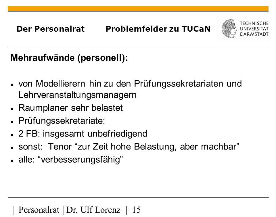 Der Personalrat Problemfelder zu TUCaN