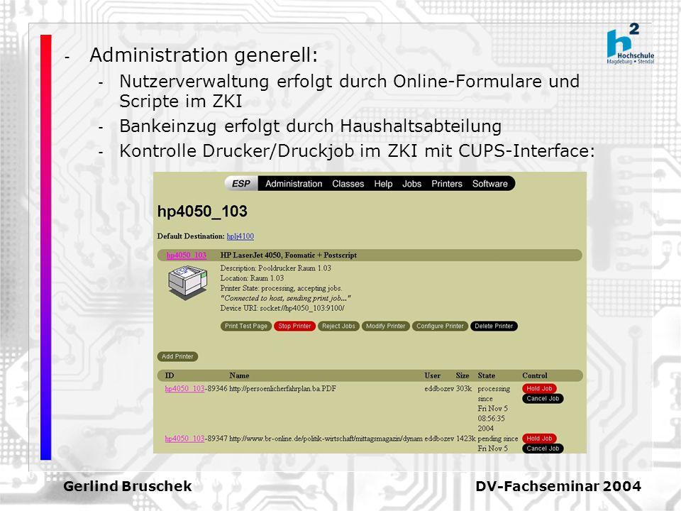 Gerlind Bruschek DV-Fachseminar 2004