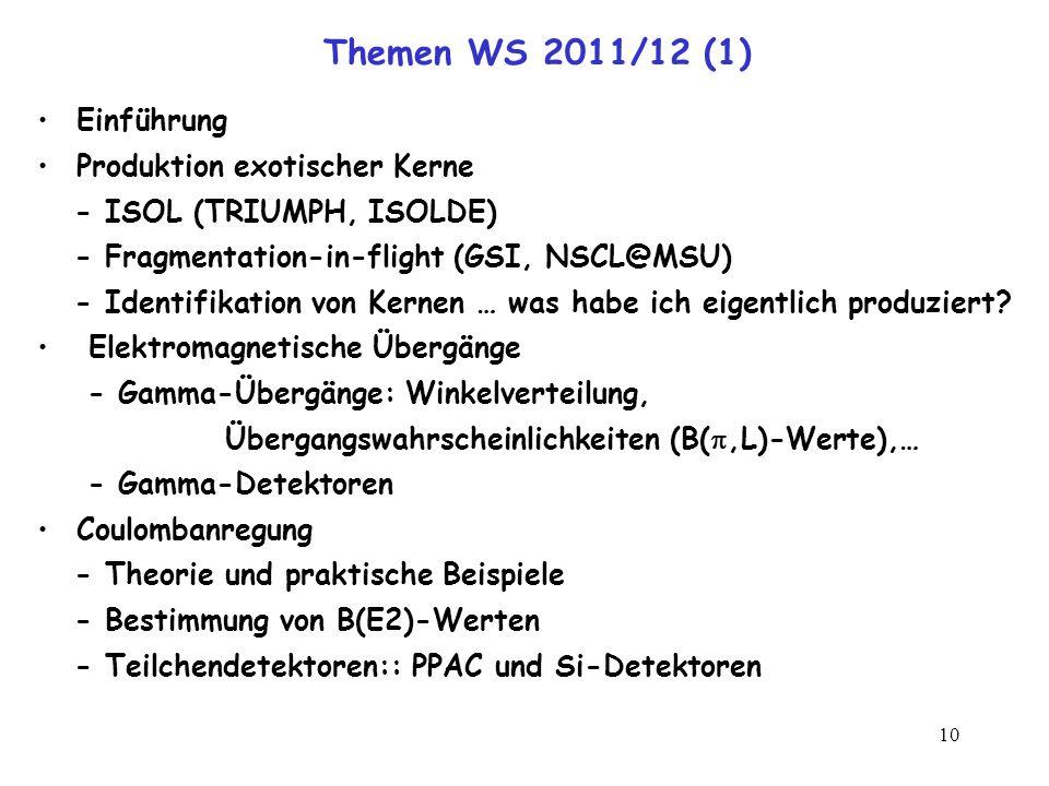 Themen WS 2011/12 (1) Einführung Produktion exotischer Kerne